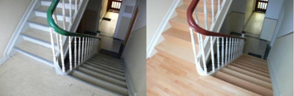 Abschleifen des Treppengeländers, Lackierung des Treppengeländers, Entfernung und Erneuerung der Stufenbeläge, Spachteln, Schleifen, Grundieren und Aufbringen eines hochwertigen, waschbeständigen Bodens